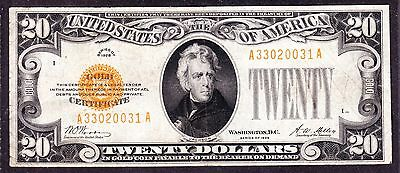 US 1928 $20 Gold Certificate FR 2402 VF (-031)