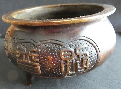 Old Chinese Bronze Three Footed Censer Signed Inscribed