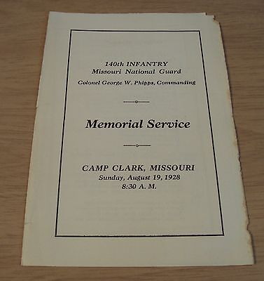"""RARE 1928 MEMORIAL Service Program~""""SOLDIERS KILLED in EXPLOSION"""" West Plains MO"""