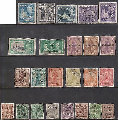 (K39-17) 1899-1937 Malta mix of 24 stamps value to 2/-