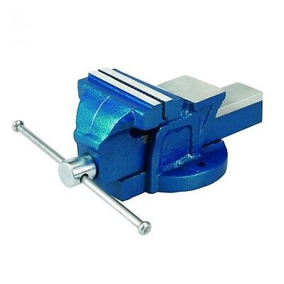 """4"""" 100mm Jaw Bench Vice, Fixed Base, Navy, for Professional Use"""