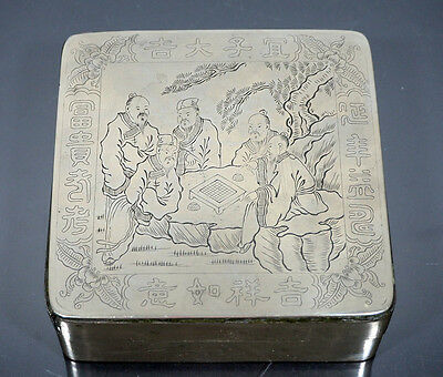 Antique Chinese Ink Box Inkstone & Poem And Figures Human Playing Chessboard