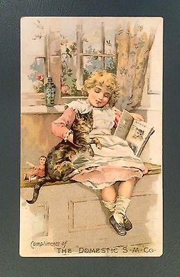 Victorian Trade Cards - Domestic S M Co - Young Girl with Cat & Doll - 1800's