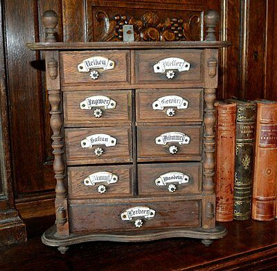Antique Wood German Spice Box Cabinet with 9 Drawers Porcelain Knobs and Labels