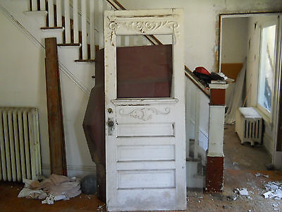 Antique Victorian Style Entry Door 3 Panel no Glass Fir Architectural Salvage