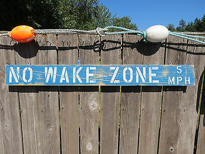48 Inch Wood Hand Painted No Wake Zone 5Mph Sign Nautical Seafood (#s799)