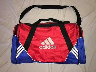 Vintage Adidas Duffle Gym Bag Red Spell Out Shoulder Strap Carry On One Size 6814b4fc1786e