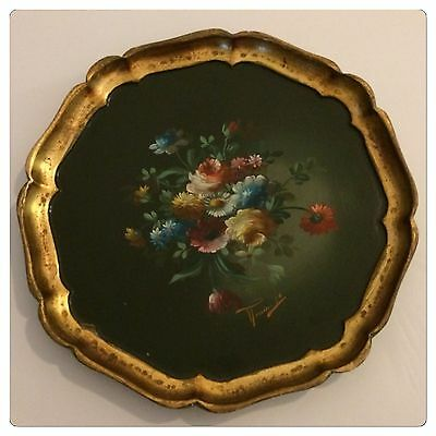 Vintage Italian Florentine Hand Painted Flowers Black Gold Gilt Signed Tole Tray