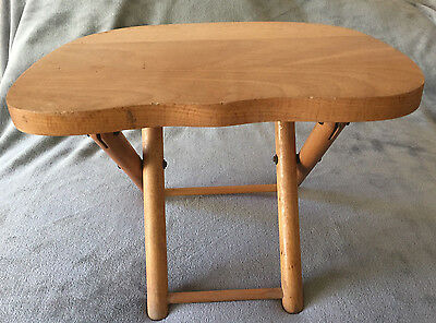 "Vintage NEVCO Small Wooden Stool ""Fold'N Carry"" - Yugoslavia 1950s-60s"