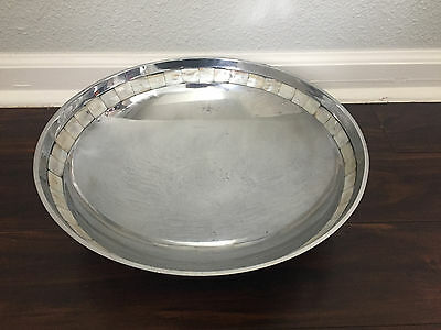"Towle Silversmiths Silver Plate Mother Of Pearl Inlay Large 13"" Serving Bowl"