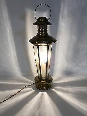Vtg Mid Century Brass Hanging Light Fixture Lantern Chandelier Etched Glass old