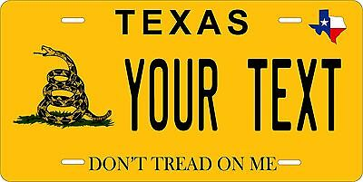 Texas Don't Tread On Me Personalized Custom License Plate Car Motorcycle Bike