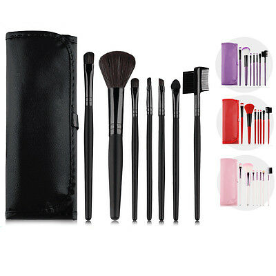 7 Pcs Professional Makeup Brush Set With Case Toiletry Tools Kit Make Up Brushes