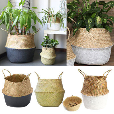 3 Color Seagrass Belly Basket Storage Plant Pot Foldable Nursery Bag Room Decor