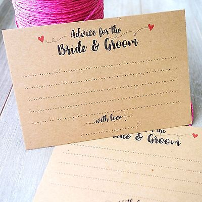 Advice Cards for Bride & Groom - Wedding Guest Book Wishing Well Note Cards