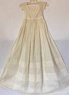 Vintage Victorian Ivory White Cotton Long Christening Gown W/ Embrodiery