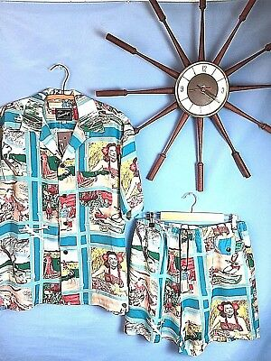 Vintage 1950's Rockabilly Original SunSurf Rayon fujiet Hawaiian Cabana Set S-2X
