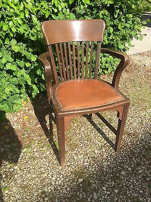 Wooden Captains Armchair With Brown Leather / Office / Desk Chair