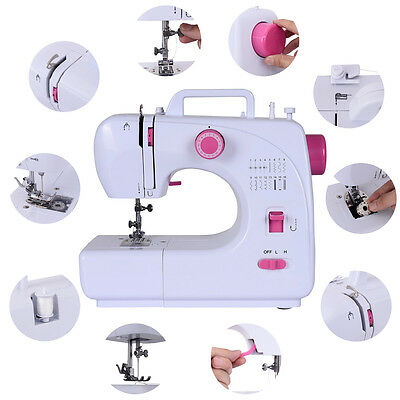 16 Stitch Electric Sewing Machine Mini Portable 2 Speed w/ Foot Pedal Goplus