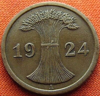 Germany 1924 - A 2 Rp Rentenpfennig German Weimar Republic Bronze Coin (Rl#1889)