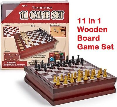 Chess Set Wooden Game Board Set 11-in-1 Checkers Backgammon Classic Family Games