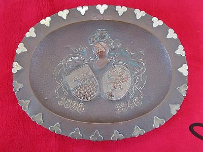 Spanish Royaly Family Coat of Arms Platter Copper and Sterling Silver 27,5cm