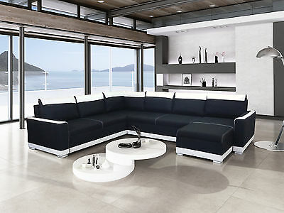 design ledersofa l form ecksofa designersofa mit led beleuchtung mini bar neu eur. Black Bedroom Furniture Sets. Home Design Ideas