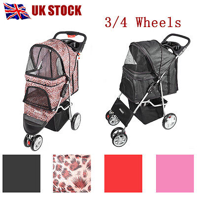 New Pet Dog Cat Puppy Travel Stroller Pushchair Jogger Buggy Swivel 3/4 Wheels