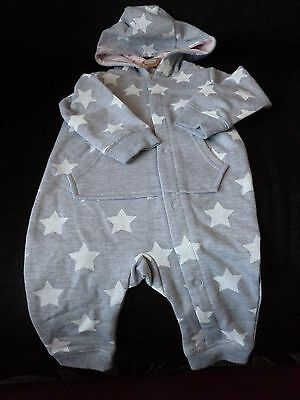 Baby Girls All One  Grey/White/pink Star  With Hood 3-6 months bnwt