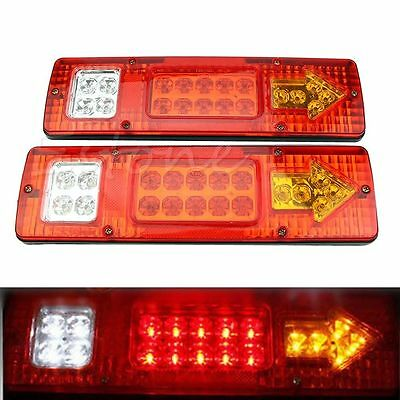 2pcs Tail Stop Light 19 LED Rear Lamps Indicator 12V Trailer Truck Lorry Caravan