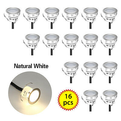 16pcs LED Bulbs Deck Light Garden Stair Outdoor Lamp Kit Cool White Φ32mm*23mm