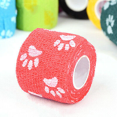 Pet Dog Cat Animal Vet Wound Cohesive Bandage Tape Self Adherent Wrap 5M Hot