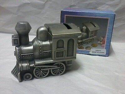 Brand New Pewter small Train Engine Money Box baby gift - engraving available