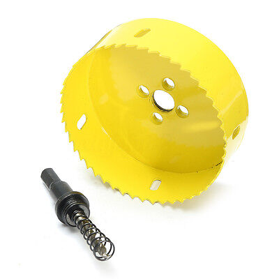 100mm Bi Metal Hole Saw Holesaw Cutter Arbor Pilot Drill Bit Wood Plastic + Rod