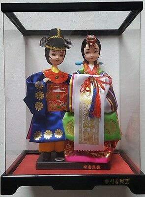 Brand New Traditional Korean Wedding Couple Dolls, In A Transparent Plastic Box