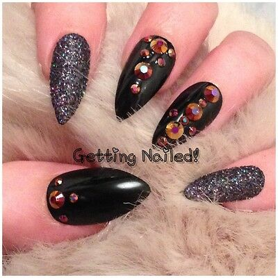Set Of 24 Hand Painted Black Holographic Full False Nails With Gems