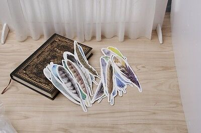 30pcs Colorful Feather Cartoon Paper Bookmarks Message Cards Students Stationery