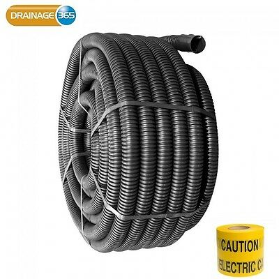 50mm OD Black Flexible Twinwall Electric Ducting c/w Drawstring FREE Marker Tape