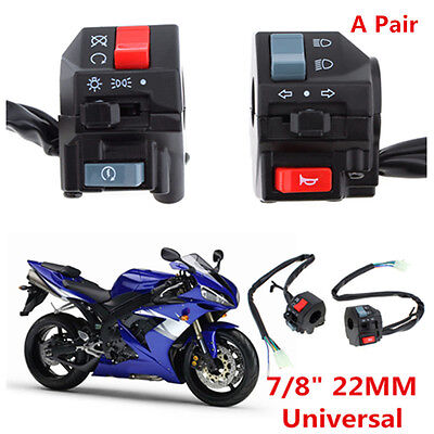 "Waterproof Motorcycle 7/8"" Handlebar Horn Turn Signals Electrical Start Switches"