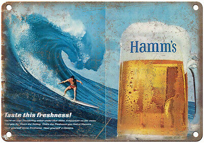 """10"""" x 7"""" Metal Sign - Hamm's Beer Surf Ad - Vintage Look Reproduction"""