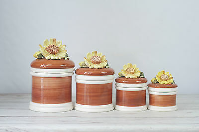 Ceramic Flower Canister Set Floral Canisters Flour Sugar Coffee Tea Canisters