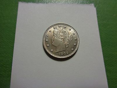 "1909 Choice Bu Mark Free  ""v""  Nickel Lots Of..mint Luster And Well Struck.."