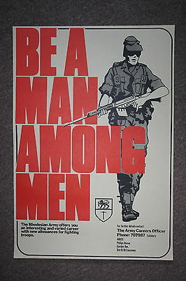 Super Replica Rhodesian Rhodesia Army Recruiting Poster Be A Man Among Men Large