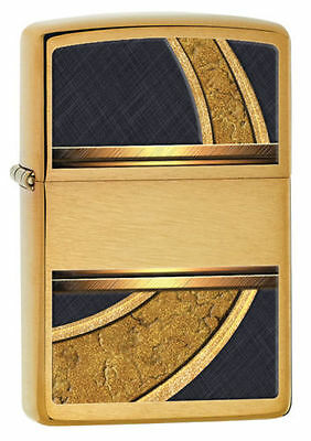 Zippo 28673, Gold & Black Design, Brushed Brass Lighter, ***6 Flints/Wick***