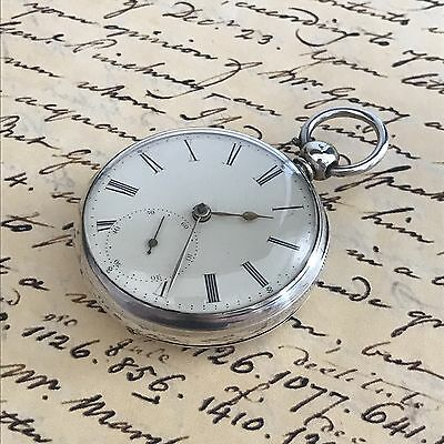 1874 London Solid Silver Fusee Pocket Watch Good Working Order.