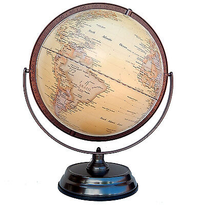 Topographical World Globe Raised Relief Double Axle Wedding House Gift 30 45 cm