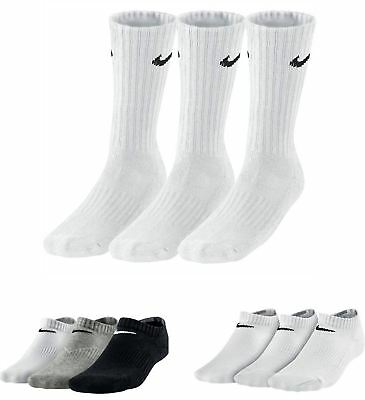 Nike Crew & Ankle No - Show Socks 3 ppk White Grey & Black SX4508-101 & SX4721