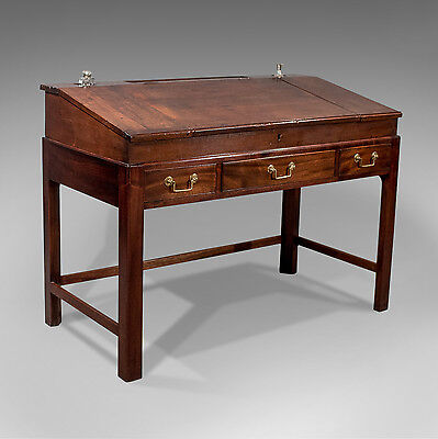 Antique English Georgian School Master's Writing Desk Bureau Mahogany c1800