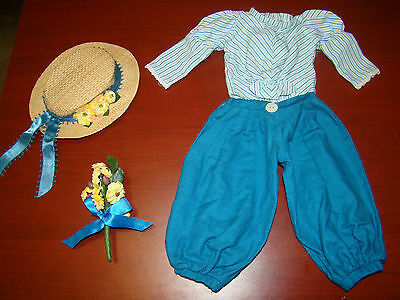 American Girl Samantha Original Bicycling  Outfit Shirt Pants Straw Hat Flowers