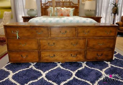 1567-401: Vintage HENREDON Artifacts Collection 9 Drawer Campaign Style Dresser